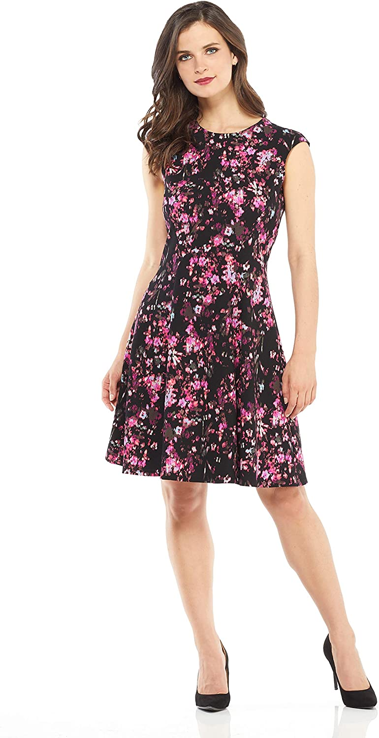 London Times Women's Cap Sleeve Round Neck Crepe Fit and Flare Dress