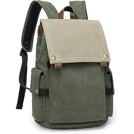 TAK Backpack canvas 15 inch Laptop Backpacks vintage School Bag for Men women outdoor casual work with usb port