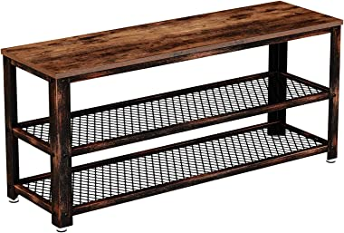 Rolanstar Shoe Bench, Sturdy 3-Tier Shoe Rack Bench with Stable Metal Frame, Rustic Storage Bench with Mesh Shelves for Entry