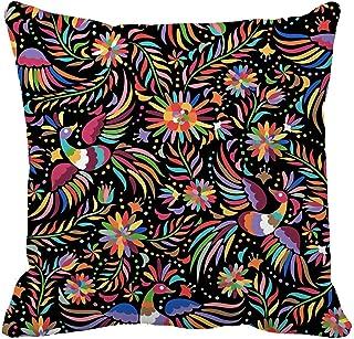 N\A Throw Pillow Cover Pattern Mexicano Colorido y Adornado Pájaros étnicos Flores Funda de Almohada Oscura Funda de Almohada Cuadrada Decorativa para el hogar Funda de cojín