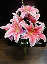 Sweet Home Deco 22'' Silk Stargazer Lily Artificial Flower Bouquet (7 Flower Heads) Home/Wedding Decoration (Pink)