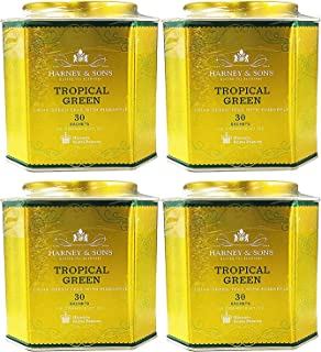 Harney & Sons Tropical Green Tea - Tin of 30 Tea Sachets (Pack of 4) Exotic Green Tea with Pineapple