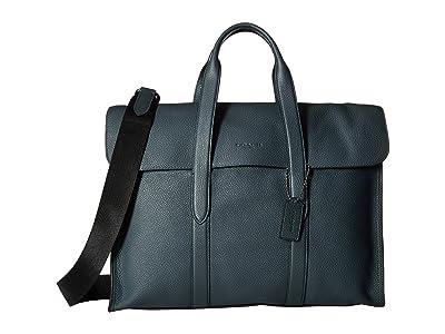 COACH Metropolitan Portfoio in Refined Pebbled (Green) Briefcase Bags