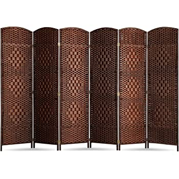 oneinmil Room Divider 6ft Tall Paper Vine Square Room Divider .Double Hinged.Folding Privacy Screens with 6-Panel ,Brown