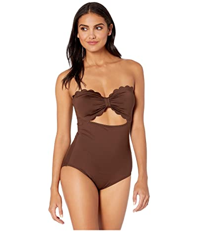 Kate Spade New York Core Solids Scalloped Cut Out Bandeau One-Piece (Espresso) Women