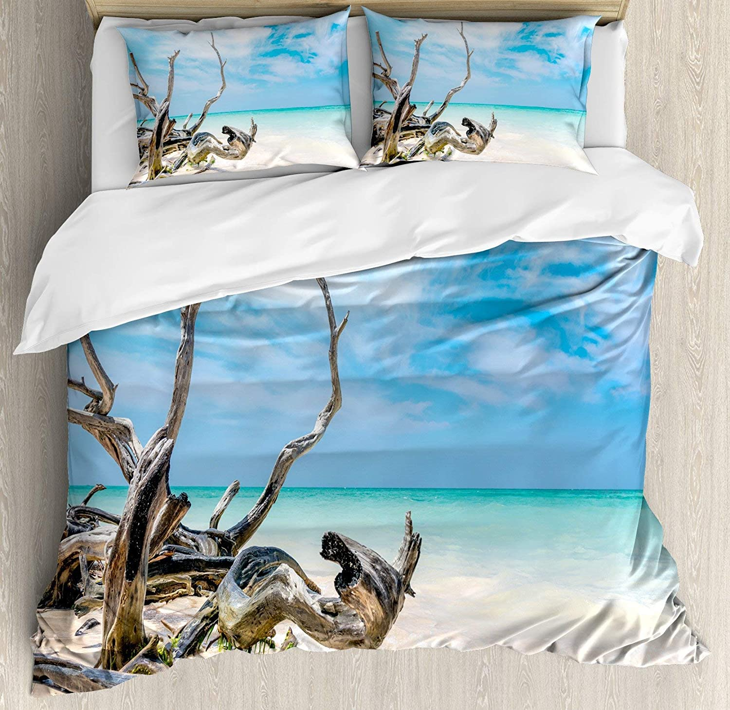Driftwood 4pc Bedding Set Full Size, Seascape Theme Branches on The Sandy Beach of Cuba and The Sky Image Floral Lightweight Microfiber Duvet Cover Set, Turquoise Sky bluee