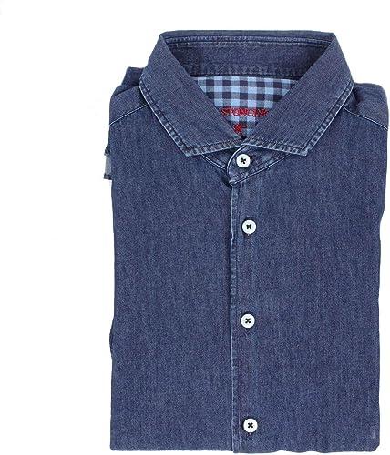 BASTONCINO Luxury mode Homme B991bleu Bleu Chemise   Saison Outlet