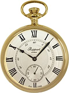 Vintage Pocket Watch with Chain by Rapport - Classic Oxford Open Face Pocket Watch with Sub-Seconds