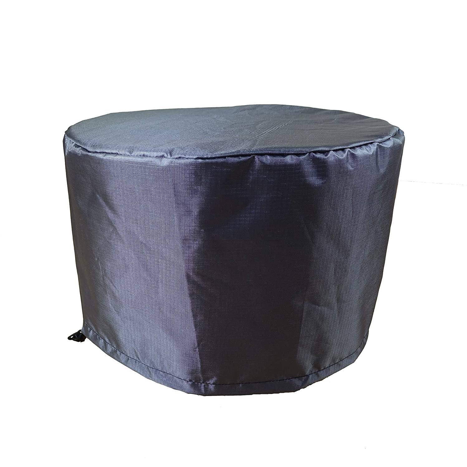 Shield Gold 2-Layer Polyester Fabric Outdoor Fire Table Round Cover - 36.5x25 Charcoal Grey
