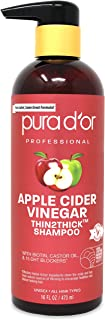 PURA D'OR Apple Cider Vinegar Thin2Thick Shampoo With Biotin, Castor Oil - For Reduced Frizz, Split Ends - Clarifying and ...