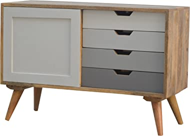 Artisan Furniture Wood, Natural Oak Lacquered finish Nordic Cabinet with 4-Drawers and Sliding Cabinet (Brown)
