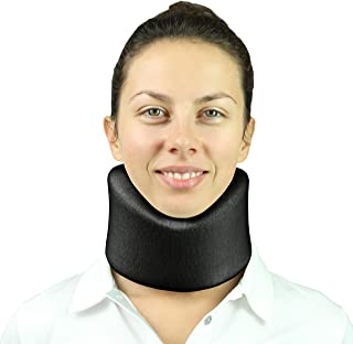Vive Neck Brace - Soft Foam Cervical Collar - Vertebrae Whiplash Wrap Aligns and Stabilizes Spine - Adjustable Spinal Support Can Be Used While Sleeping and Relieves Pain, Pressure (Black)