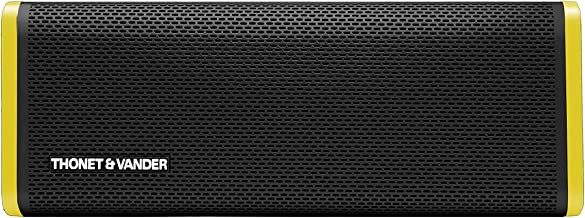 Thonet and Vander Frei Portable Bluetooth Speaker (Black/Yellow) Wireless with Enhanced Bass (50 Peak Watts) Impact + Water Resistant/IPX-4 Shockproof - Rechargeable 8Hr Battery (German Engineered)