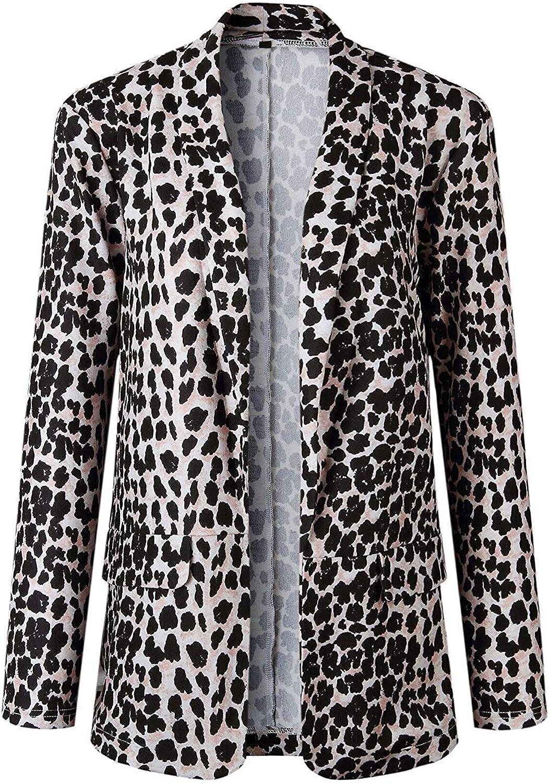 Laisla fashion Giacca Blazer da Donna Cardigan Manica Lunga Elegante Classiche con Stampa Leopardata Giacca Aderente da Bolero Blazer Abito Casual