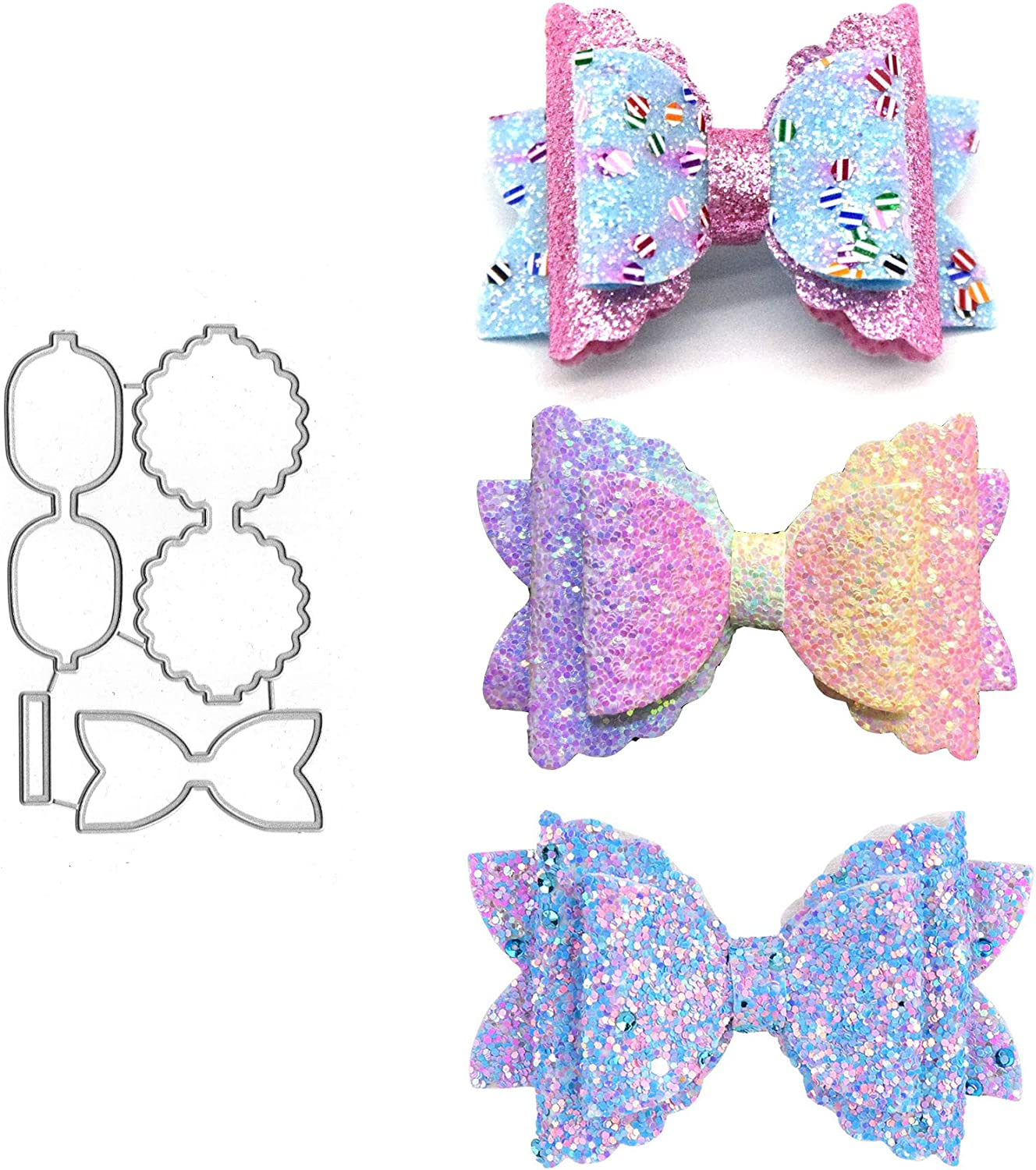 3pcs Flower Bows Metal Die Cuts,Wedding Kids Bow Tie Bowtie Hair Bow Clip Cutting Dies Cut Stencils for DIY Scrapbooking Decorative Embossing Paper Leather Scrapbooking Card Making