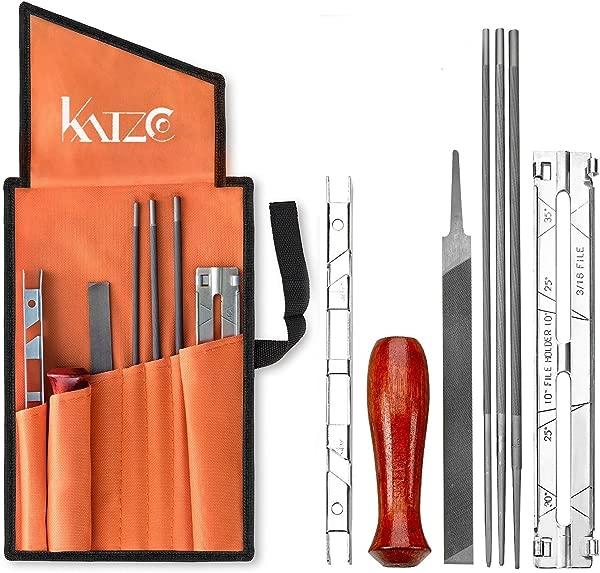 Katzco 8 件链锯卷笔刀文件包包含 5 32 3 16 7 32 英寸文件木柄深度计归档导向工具袋用于锐化归档链锯其他刀片