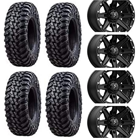Four 32x10-15 Tusk TERRABITE 8 Ply Radial Heavy Duty DOT UTV Tires Mounted on Tusk UINTA Beadlock Wheels 12mm x 1.25mm Hex Lug Nuts Non X3 Fits: Can-Am Maverick X3 Commander Defender