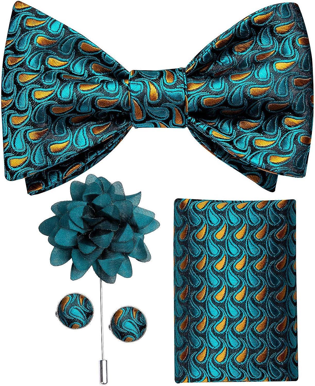 DiBanGu 4 PCS Bow Tie Set for Men Wedding Formal Silk Self Bow Tie Pocket Square Cufflinks