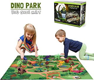 Wowok Dinosaur Toys with Activity Play Mat & Trees, Educational Realistic Plastic Dinosaur Figures Playset Including T-Rex, Allosaurus, etc, to Create a Dino World Gift for Boys and Girls