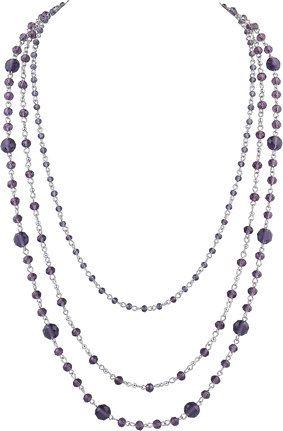 Firstmeet Long Chain Multi Layer Fashion Glass Beads Handmade Necklace for Women(XL-1035-Purple)