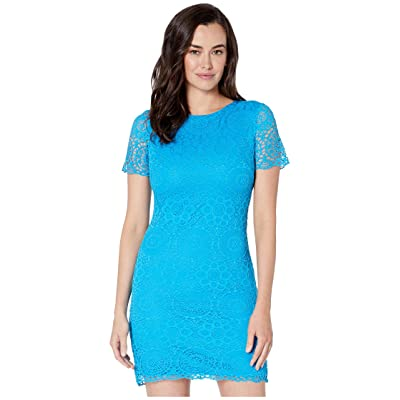Laundry by Shelli Segal Short Sleeve Lace Dress (Turquoise) Women