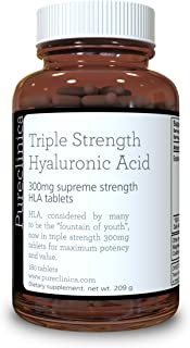 Hyaluronic Acid 300mg x 180 Tablets (3 Months Supply). Triple Strength Hyaluronic Acid. 300% Stronger Than Any Other HLA Tablet. SKU: HLA3