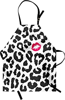 Ambesonne Safari Apron, Leopard Cheetah Animal Print with Kiss Shape Lipstick Mark Dotted Trend Art, Unisex Kitchen Bib with Adjustable Neck for Cooking Gardening, Adult Size, Grey Pink