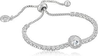 Classics Silver-Tone Pave Center Stone Slider Bracelet, One Size