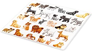 Lunarable Dog Lover Cutting Board, Different Type of Dogs Small and Dalmatian Golden Fur Fluffy Faithful Creature, Decorative Tempered Glass Cutting and Serving Board, Small Size, Grey Peach