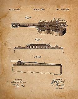 "Original""Guitar"" Patent Print From 1893 (11 x 14) Unframed Print - Classic Gift for Musicians Wall Art Decor"