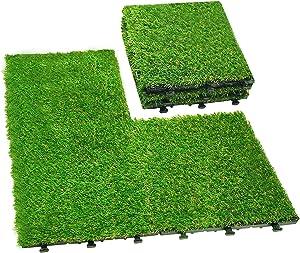 Interlocking Grass Tiles,Artificial Grass Turf Tile ,Turf Squares, Garden Carpet Grass Outdoor Grass Mats DIY Grass Frass Carpet for Dogs Pet, Synthetic Carpet Grass Rug for Patio 12''x12'',6 PCS
