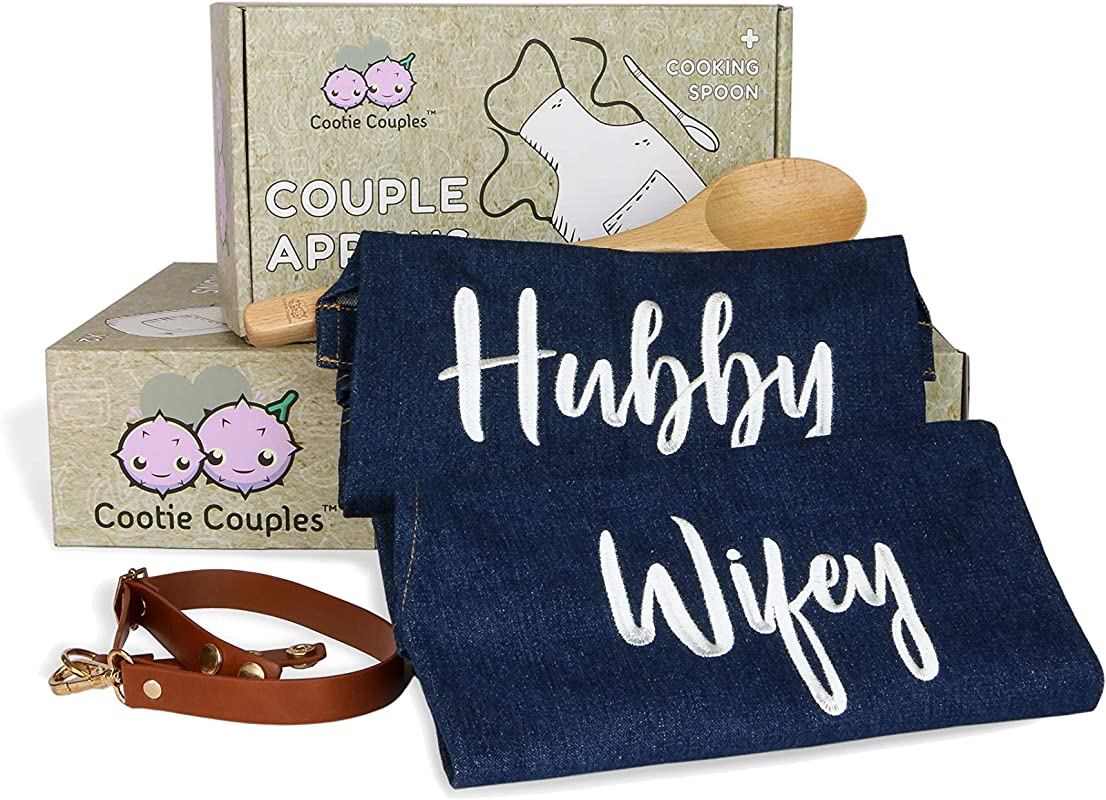 Hubby Wifey Couples Aprons Matching Gift Set With Free Beech Spoon Newlywed Gifts Bridal Shower Gifts Wedding Engagement Gifts His And Her Aprons