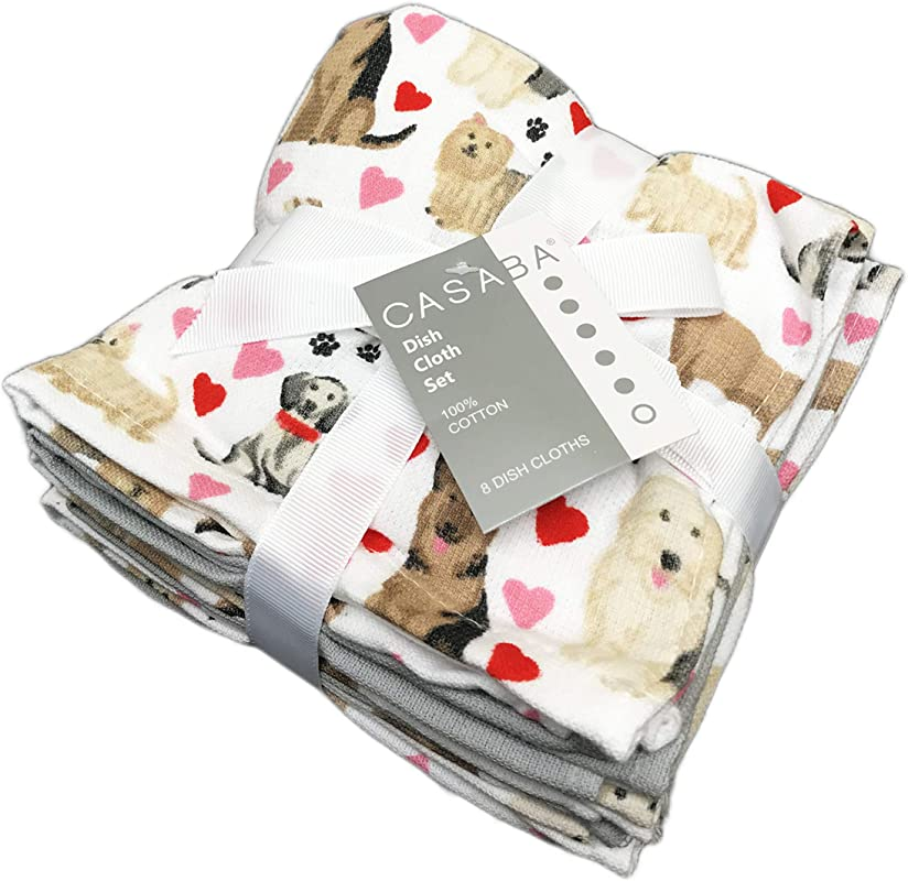 Cute Multi Dog Breeds Hearts Set Of 8 100 Cotton Valentine S Day Kitchen Dish Cloth Towels