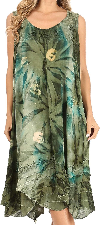Sakkas Magy Women's Casual Summer Sleeveless Loose Tank Dress Tie-dye Floral Print
