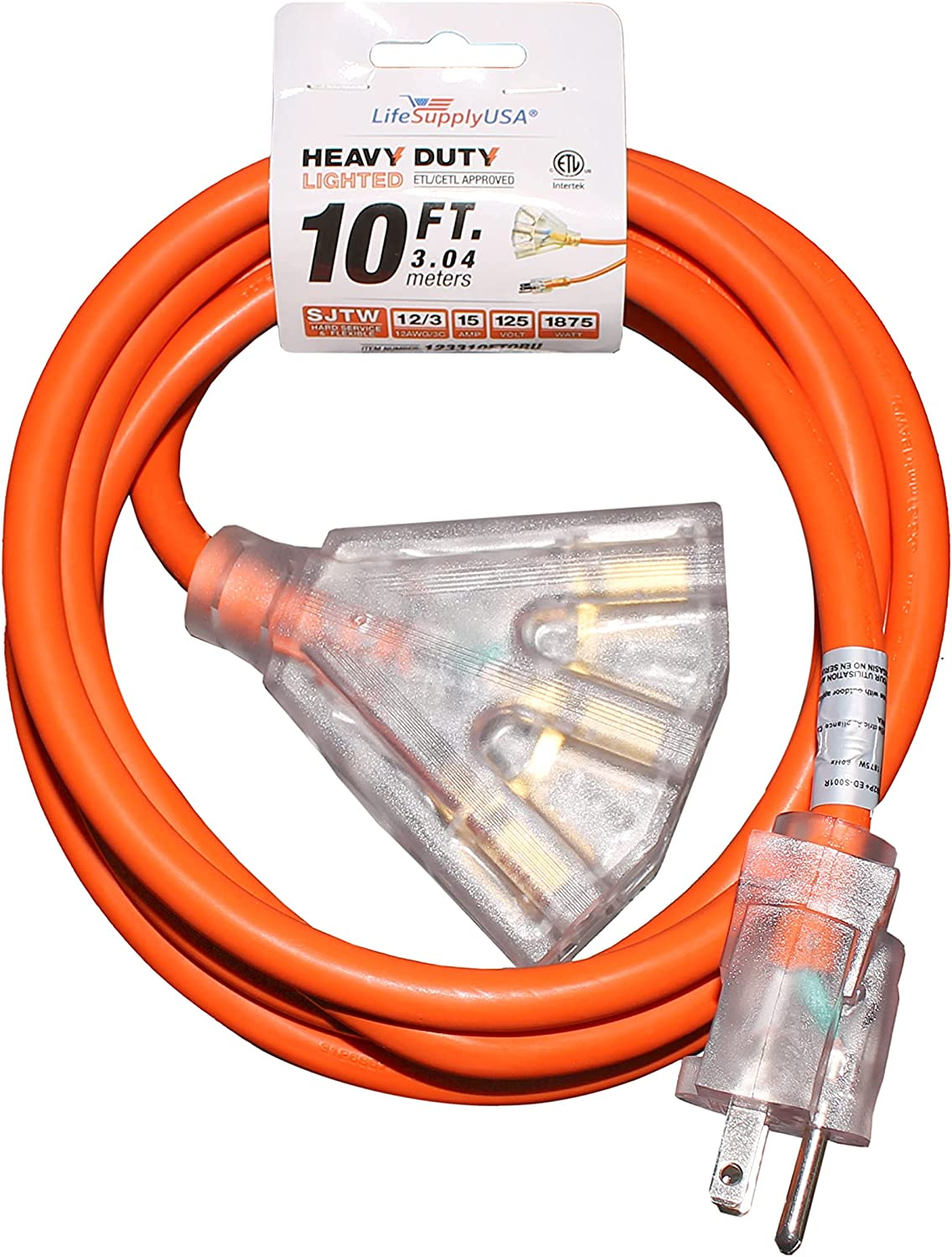 2-Pack 10 ft Extension Cord 12 SJTW 3-Outlet Lighted with Ranking TOP1 3 OFFicial en