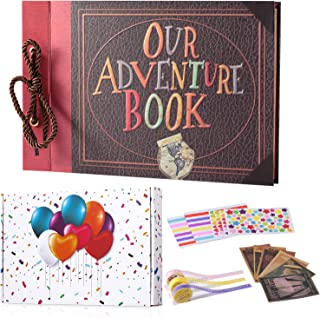 TEOYALL Our Adventure Book Scrapbook Photo Album Scrapbooking Supplies DIY Family Anniversary Gift for Birthday Wedding Thanksgiving Day Christmas Baby Shower (Brown)
