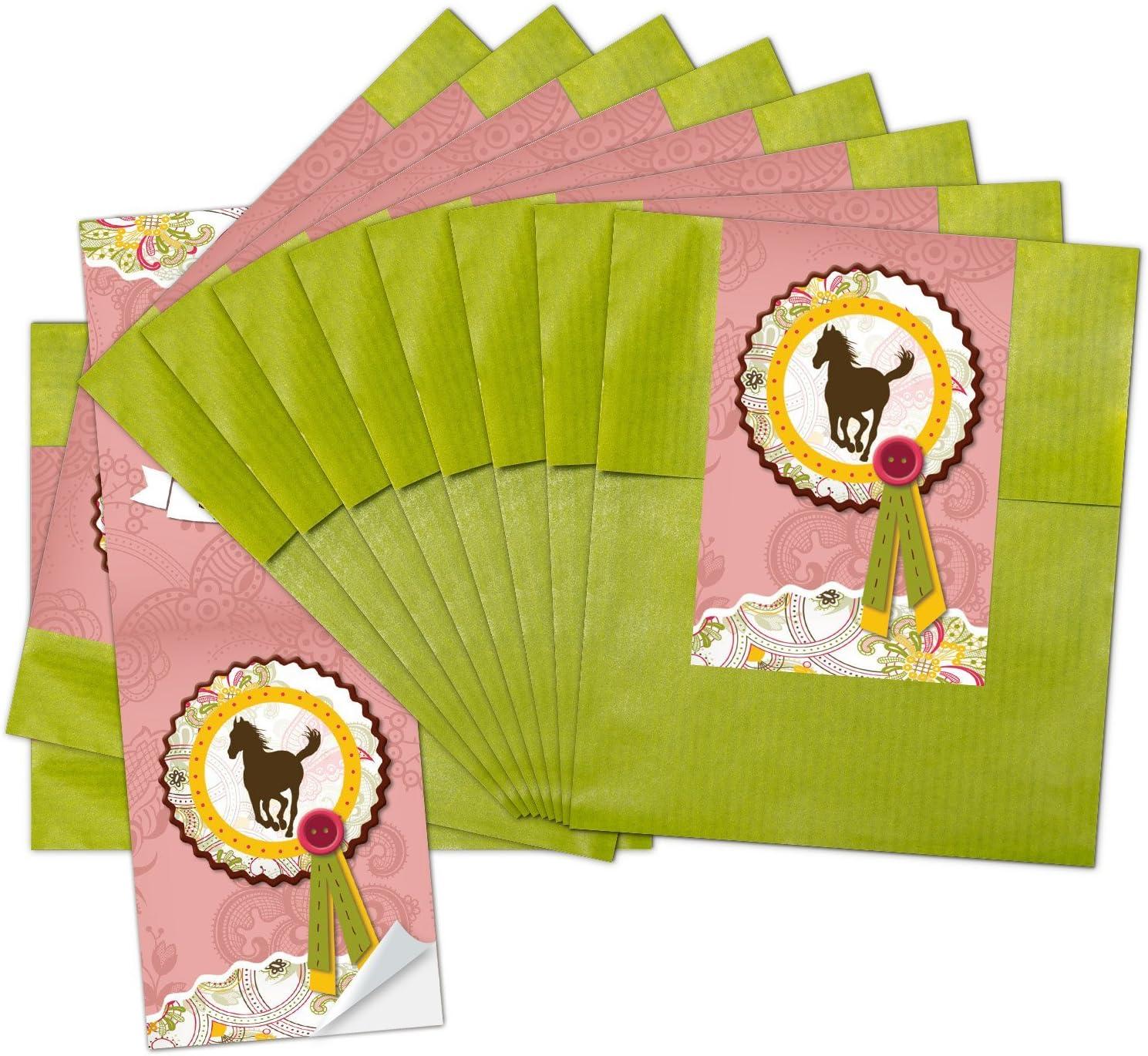 10 bolsas de papel pequeñas verdes para regalo (9,5 x 14 cm) con pegatina