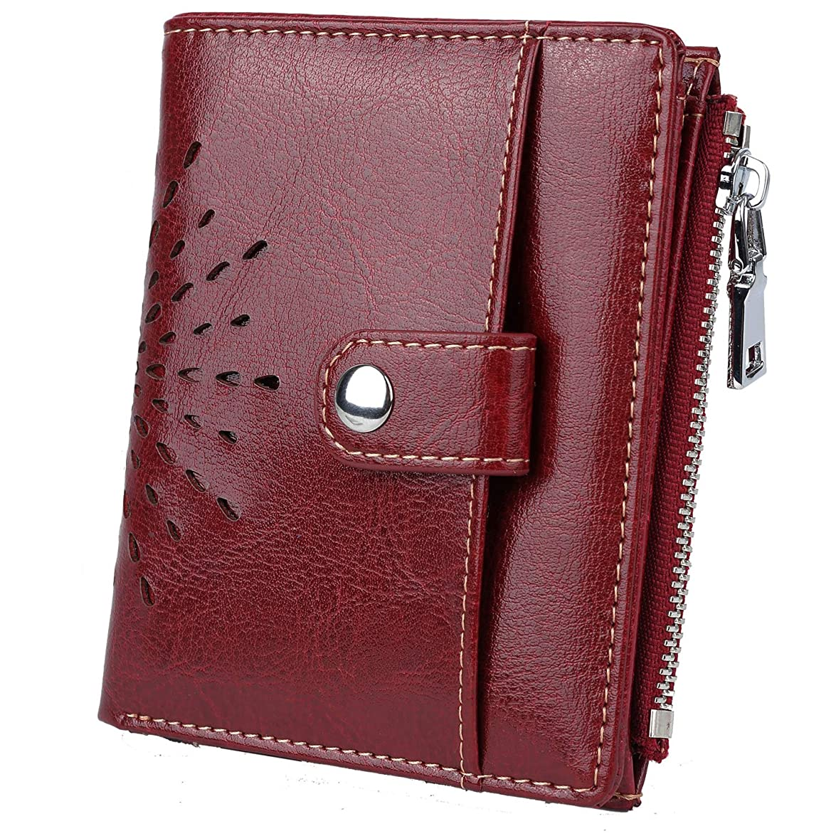 意見格納ブリーク[ヤラックス]Yaluxe レディース ビジネス 本革 カードケース 二つ折り 通勤 RFID ブロッキング 財布 ウォレット