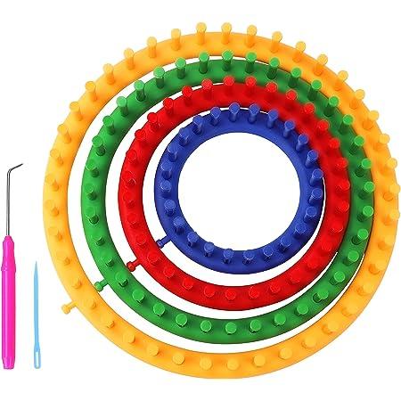Curtzy Tricotin Rond en Plastique avec Crochet et Aiguille (6 Pièces) - Tailles 14, 19, 24 et 29 cm - Tricotin Circulaire pour Crochet, Echarpe, Châles et Pulls