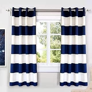 DriftAway Mia Stripe Room Darkening Grommet Unlined Window Curtains 2 Panels Each 52 Inch by 63 Inch Navy