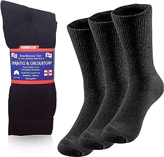 Diabetic Crew Socks, Non-Binding Circulatory Doctor Approved Cushion Cotton Crew Socks for Men's Women's 12-Pairs (6 Pairs...