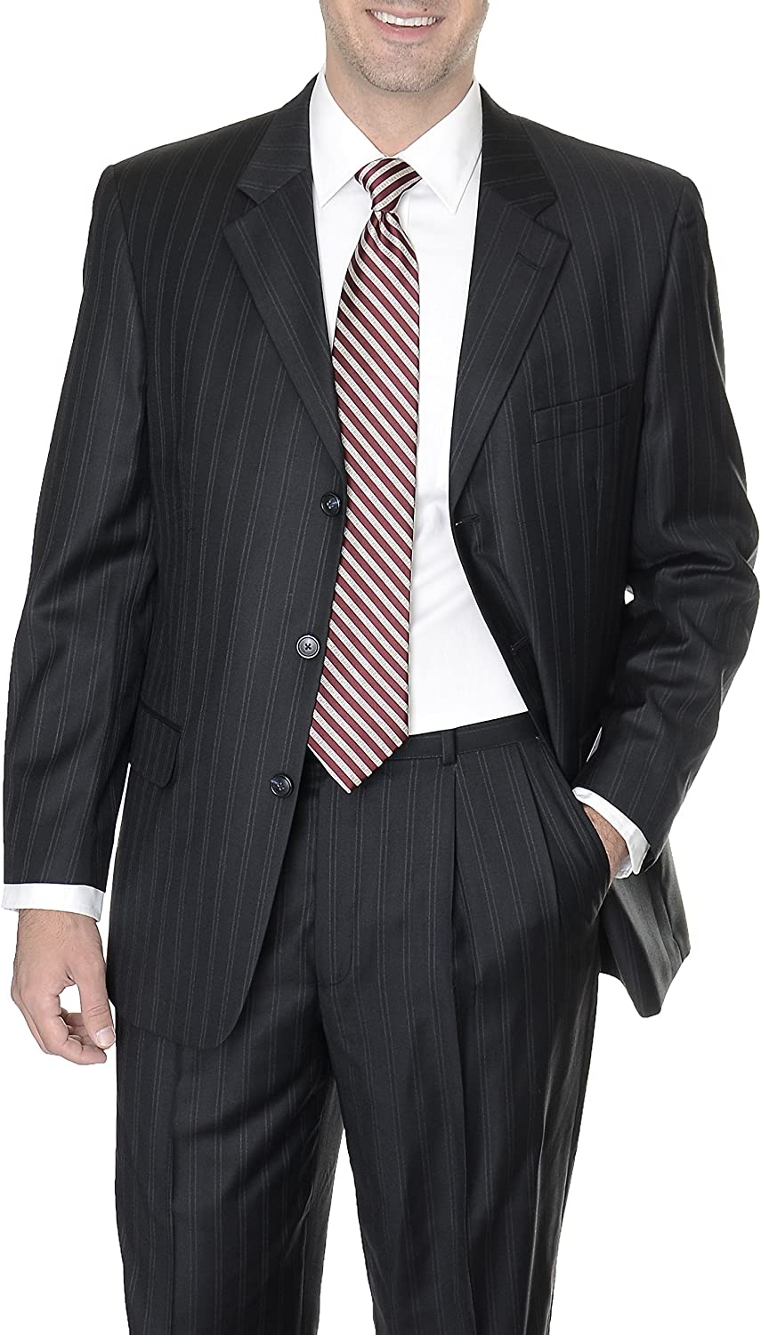 Abriani Athletic Fit 36S Mens Black Striped Three Button Wool Suit