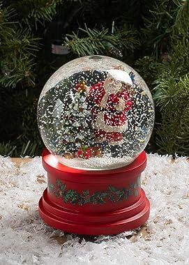 Roman Santa With Tree Plays Tune Here Comes Santa Claus 5.75 Inch Holiday Glitter Globe