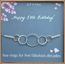50th Birthday Gifts for Women, Sterling Silver Five Circle Bracelet for Her, 5 Decade Jewelry 50 Years Old