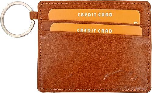 Huben Slim Wallet and Credit Card Holder with Keyring (Tangy Tan)