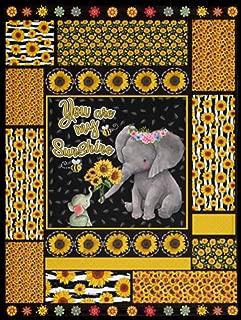 TrueKool You-are-My-Sunshine Sunflower Elephant Mom Kids Fleece Blanket - Premium Sherpa Blanket