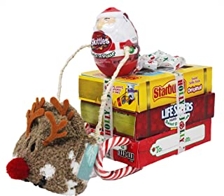 Rudolph Pulling Santa's Sleigh, Unique Holiday Gift with Popular Name Brand Candy; Starburst, M&M's, Lifesavers, Skittles, Candy Cane's and fuzzy socks.