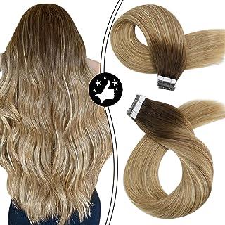 Sponsored Ad - Moresoo Balayage Tape in Hair Extensions Human Hair 18 Inch Tape in Hair Extensions Straight Skin Weft Tape...