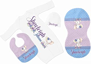 New Baby Girl's White Elephant Personalized Infant Gown with Purple and Blue Coming Home Outfit