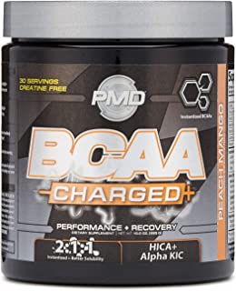 PMD Sports BCAA Charged Delicious Amino Acid Drink for Performance and Recovery - Increase Muscle Function for Workout and Daily Energy - Peach Mango - 30 Servings